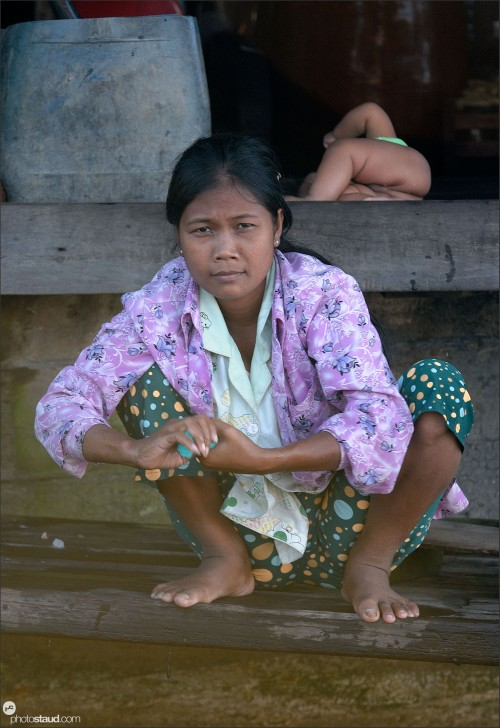 Mother and child, Tonle Sap Lake, Cambodia