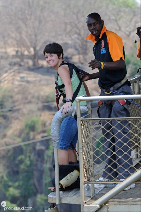 Scared of bungee jumping from Victoria Falls bridge, Zambia