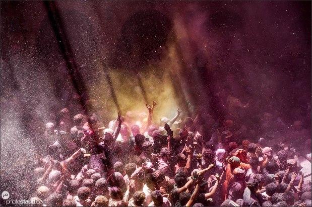 Holi festival in Banke Bihari Temple, Vrindavan, India