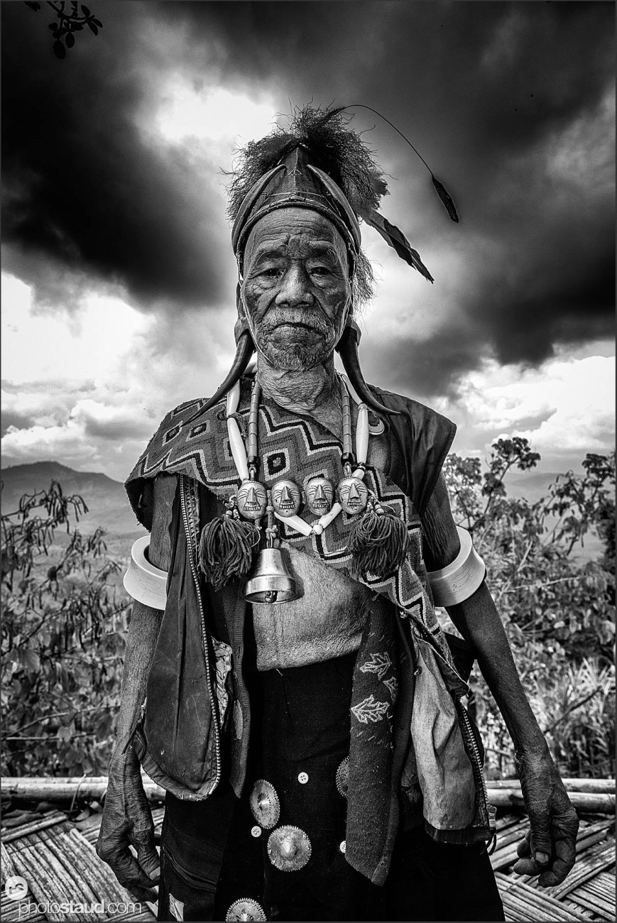 Tattooed Konyak man, Nagaland, India